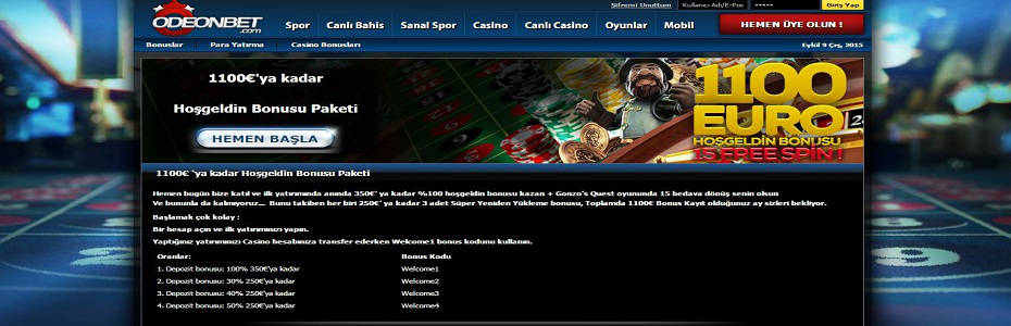 Odeonbet yeni casino hoşgeldin bonus paketi