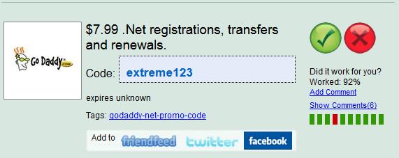 Godaddy .Net Promo Codes Desember 2012