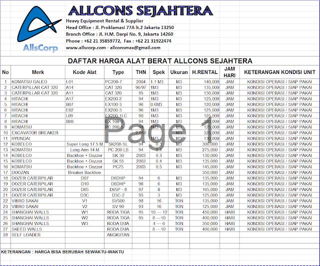 Allcons Daftar Harga Sewa Alat Berat Daftar Harga Sewa Alat Berat