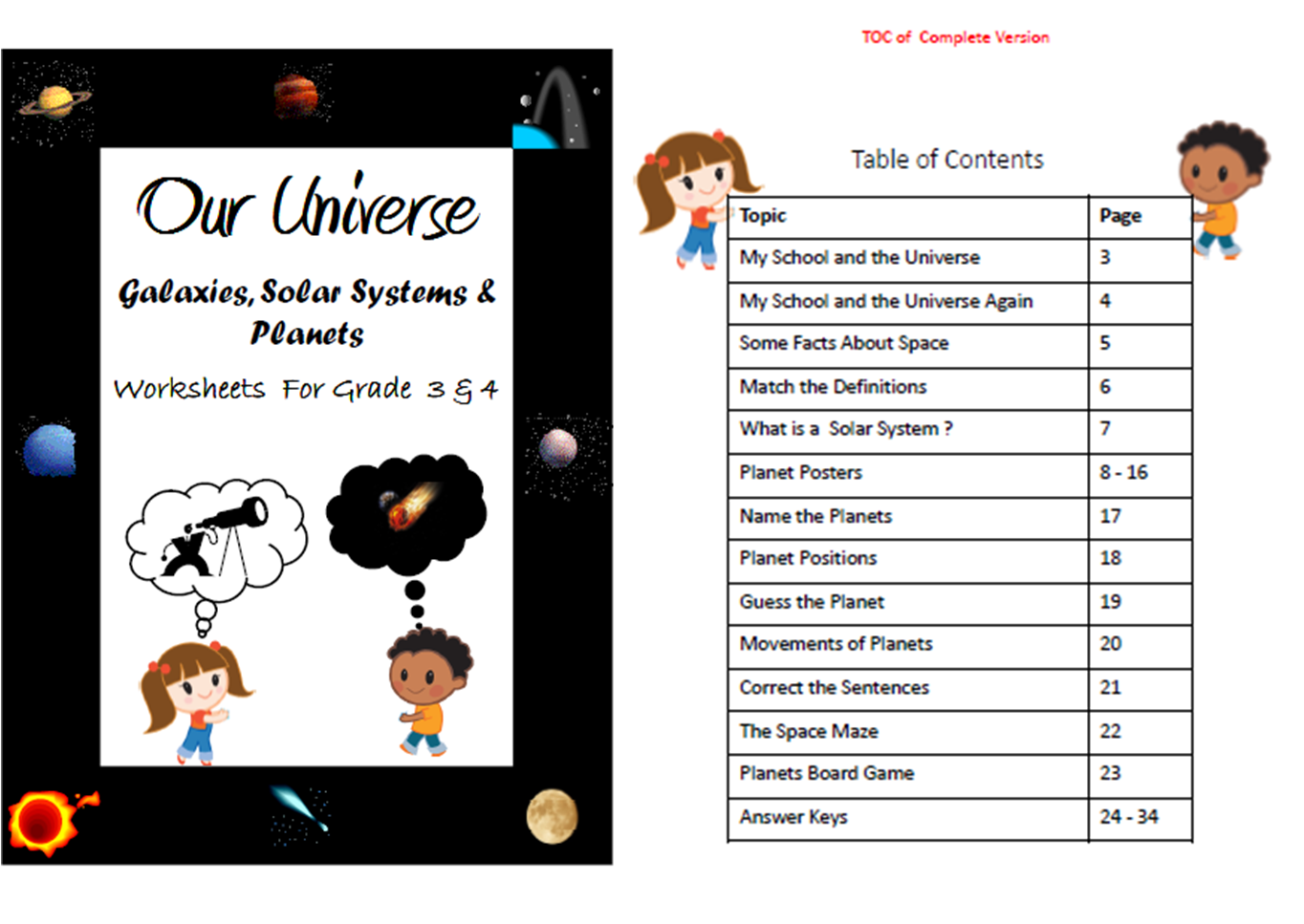 Universe , Solar System , Planets - Worksheets for Grade 3