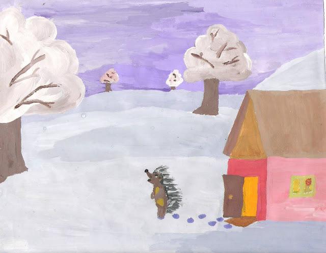Ёжик и Медвежонок – иллюстрация к сказке. Автор рисунка: Серёдкина Мария