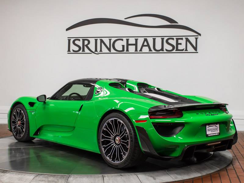indycar driver graham rahal takes delivery of custom green porsche 918 spyder. Black Bedroom Furniture Sets. Home Design Ideas
