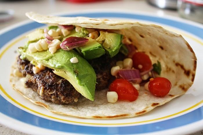 easy burger recipe quesadilla beef burger sweet corn salsa Memorial Day best burger burger taco