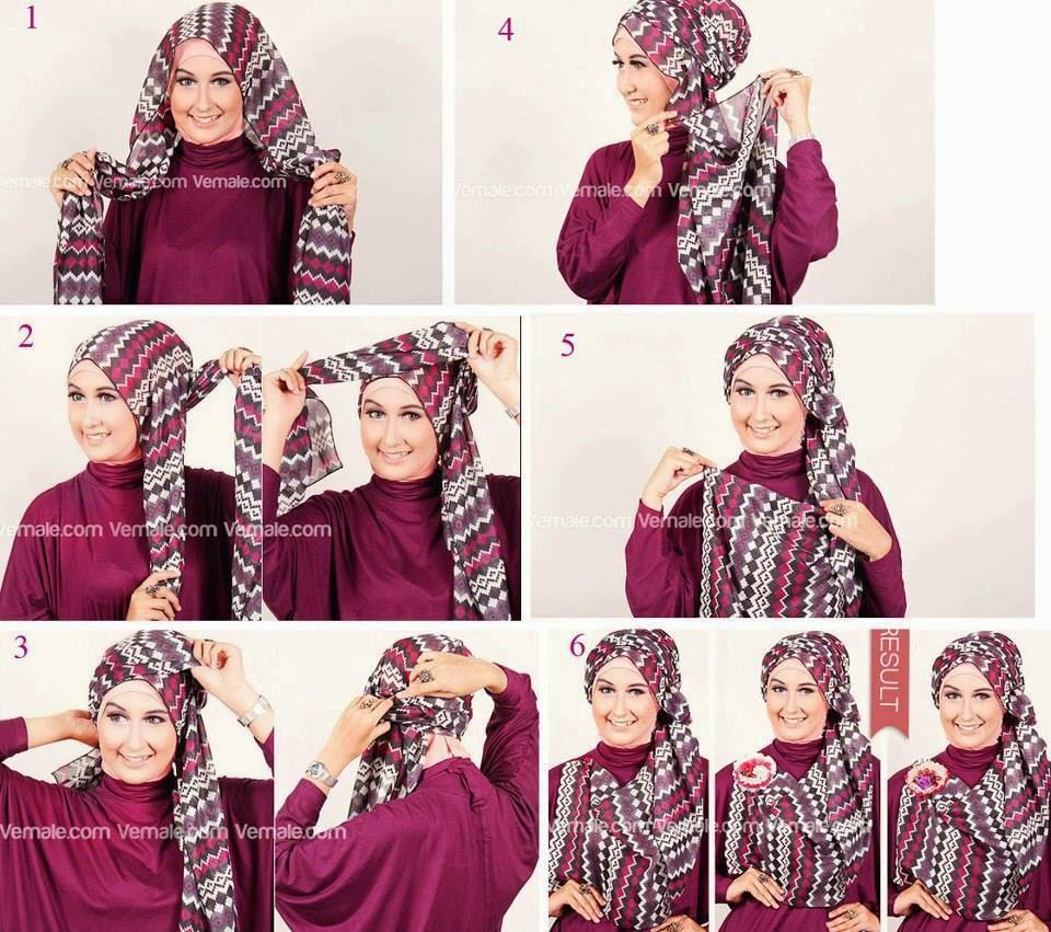 Cara Memakai Jilbab Pashmina Sifon Garis
