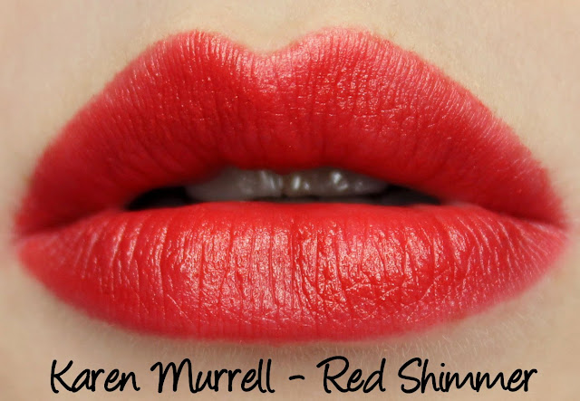 Karen Murrell - Red Shimmer Lipstick Swatches & Review