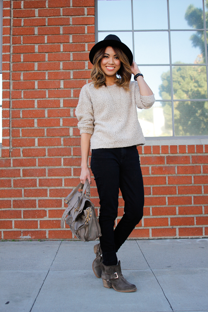 All Saints Suede Bonny Boots, Proenza Schouler PS1 Smoke, Topshop sweater, beautybitten