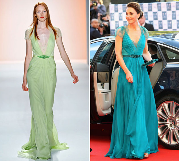Kate Middleton in Jenny Packham teal dress