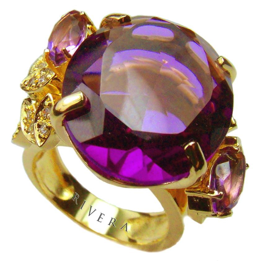 anel de pedras naturais ametista lilas semijoia