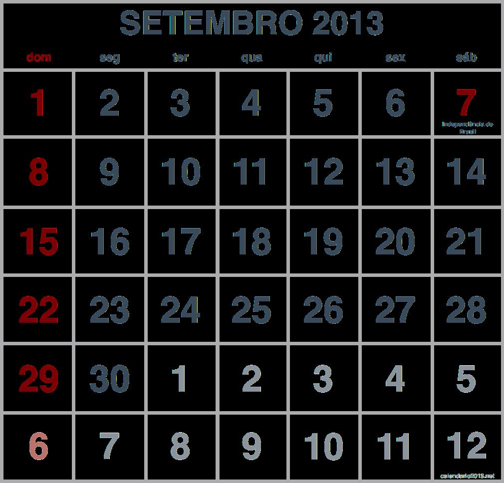 imagem calendario setembro 2013