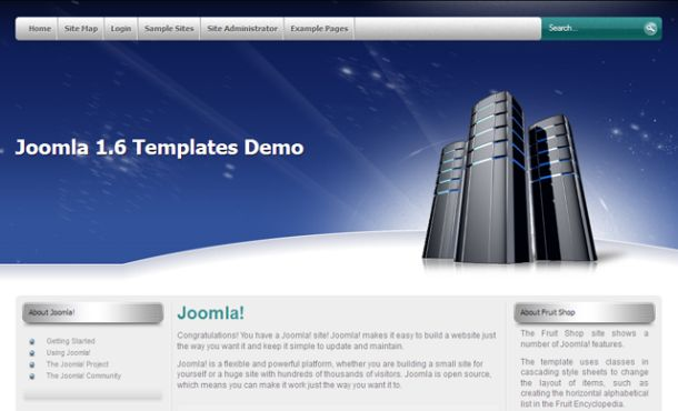 Web Servers Hosting Blue Joomla Template