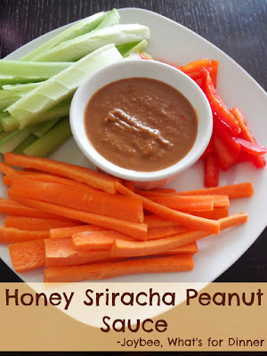 Honey Sriracha Peanut Sauce:  A sweet and spicy creamy peanut sauce that is a great dip for vegetables or spring rolls.