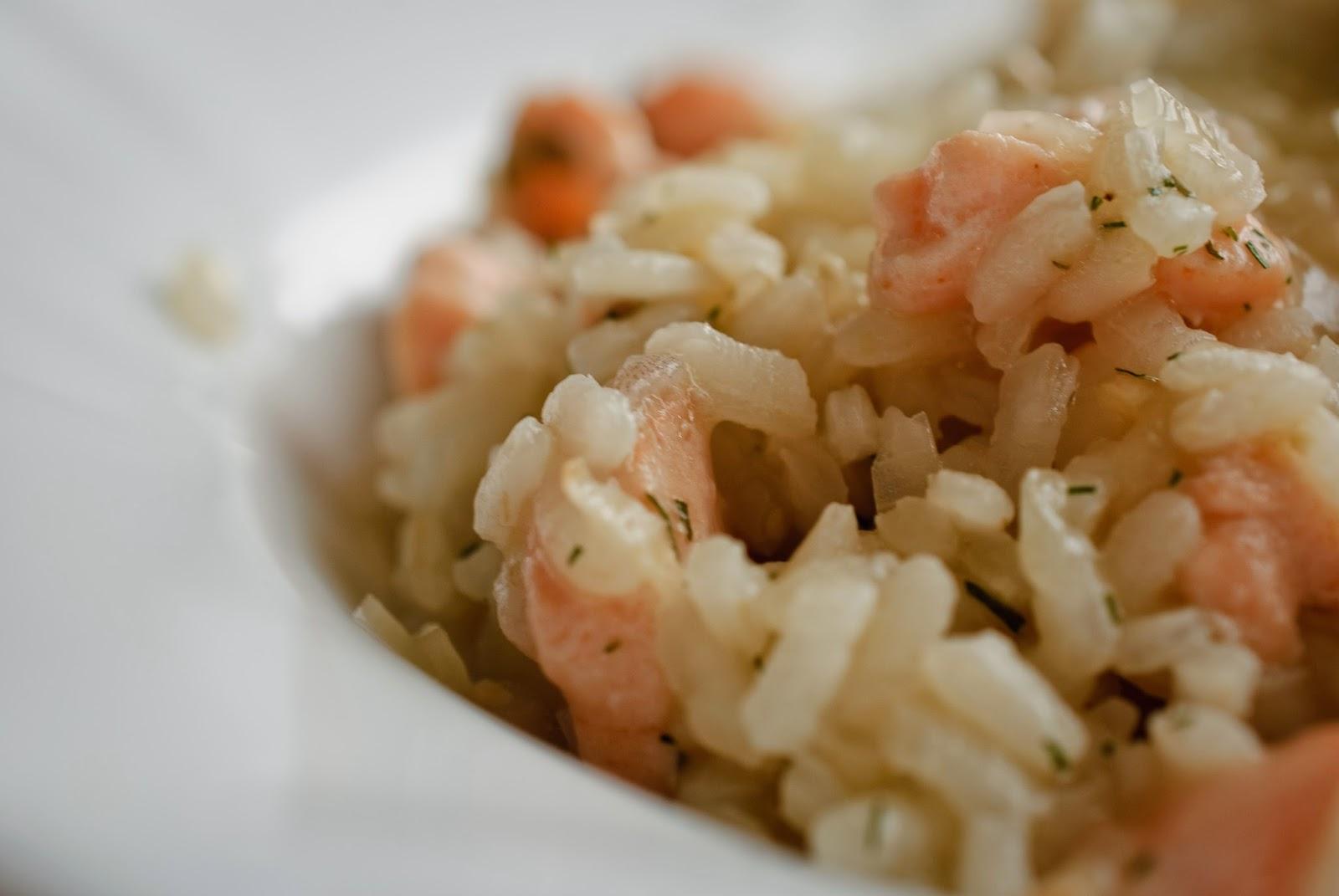 Risotto de salmón; salmon risotto
