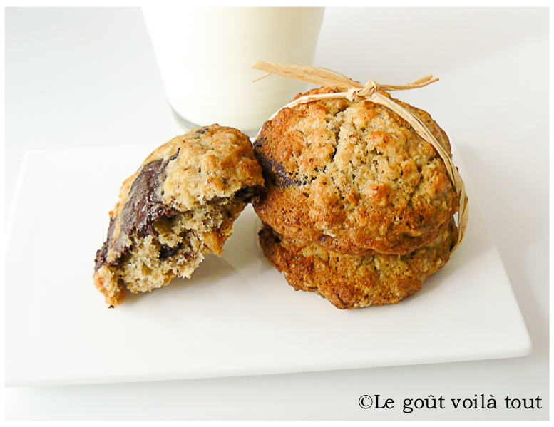 Cookies banane, chocolat et noisettes