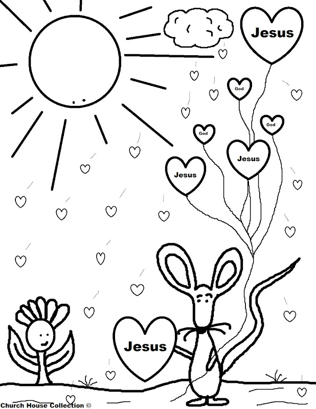 Valentine Mouse Holding Jesus Balloons Coloring Page title=