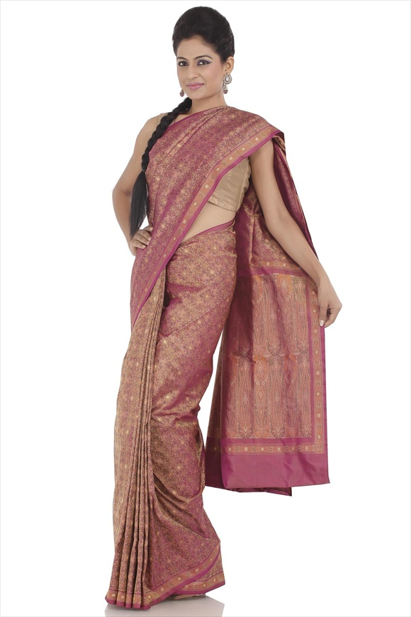 Bright Violet Satin Banarasi Saree
