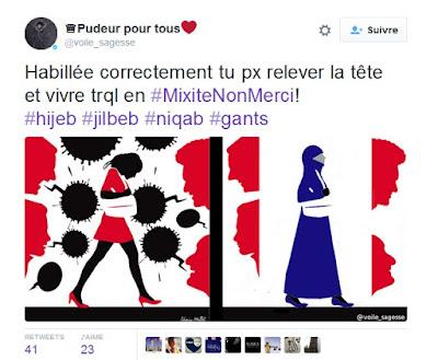 Pudeur pour tous : ce compte Twitter français qui demande aux femmes de se voiler  dans France voile%2Btwitter
