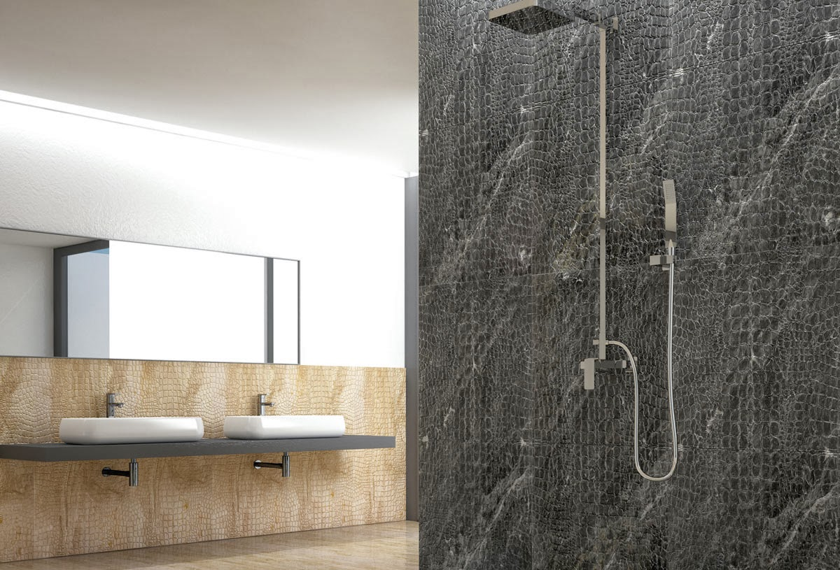 Shower Wall: Jungle In Black Secrect Marble. Wainscoting: Jungle In Orosei  Marble. Floor: Run In Orosei Marble, Brushed.