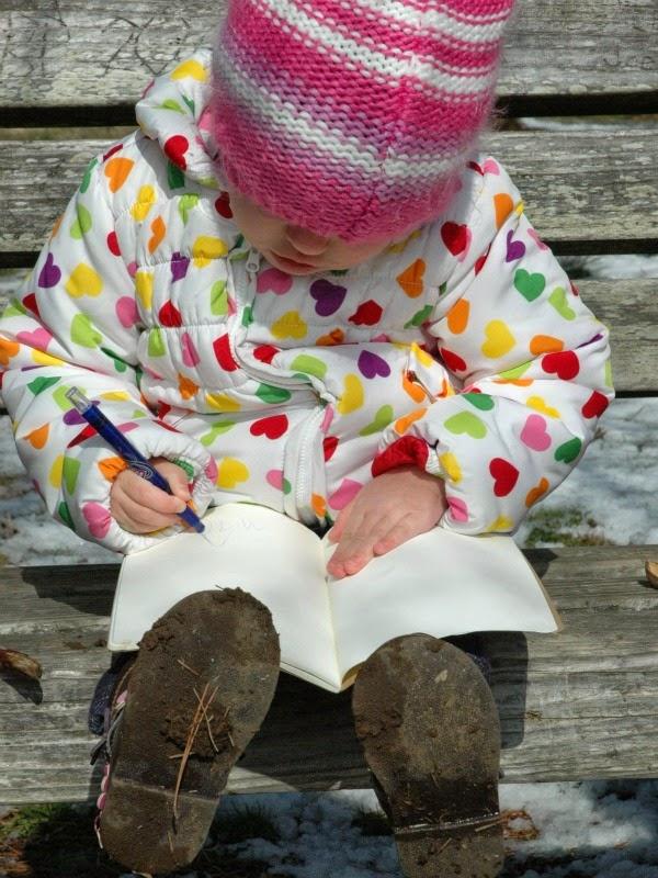 sketching in preschool nature journals