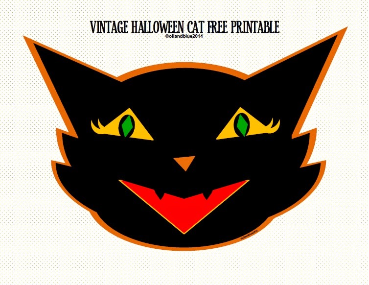 Oil And Blue VINTAGE HALLOWEEN PUMPKIN CAT OWL PRINT