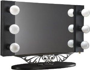 on sale starlet table top lighted vanity mirror 34 black. Black Bedroom Furniture Sets. Home Design Ideas