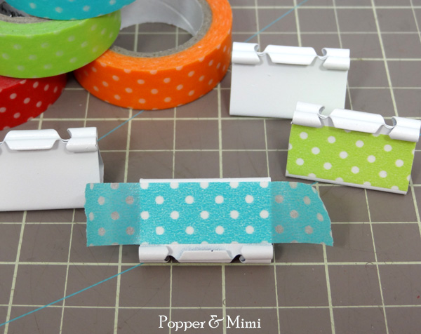 Adhere washi tape to binder clips | popperandmimi.com