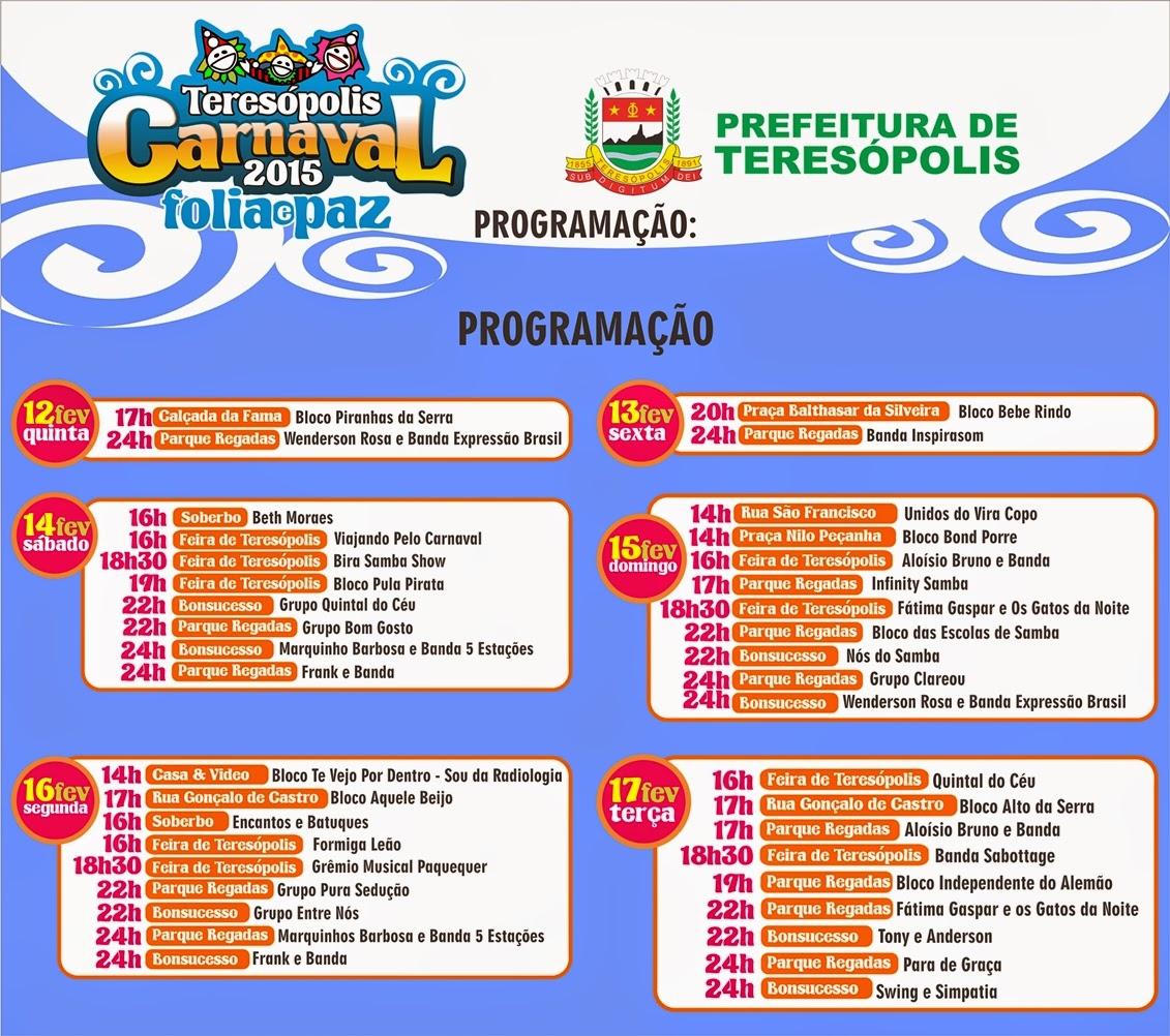 Programação do Carnaval 2015 em Teresópolis
