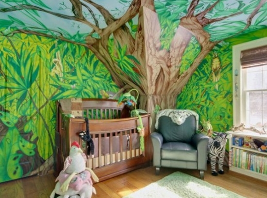 Jungle theme baby room baby room theme for Forest themed bedroom ideas