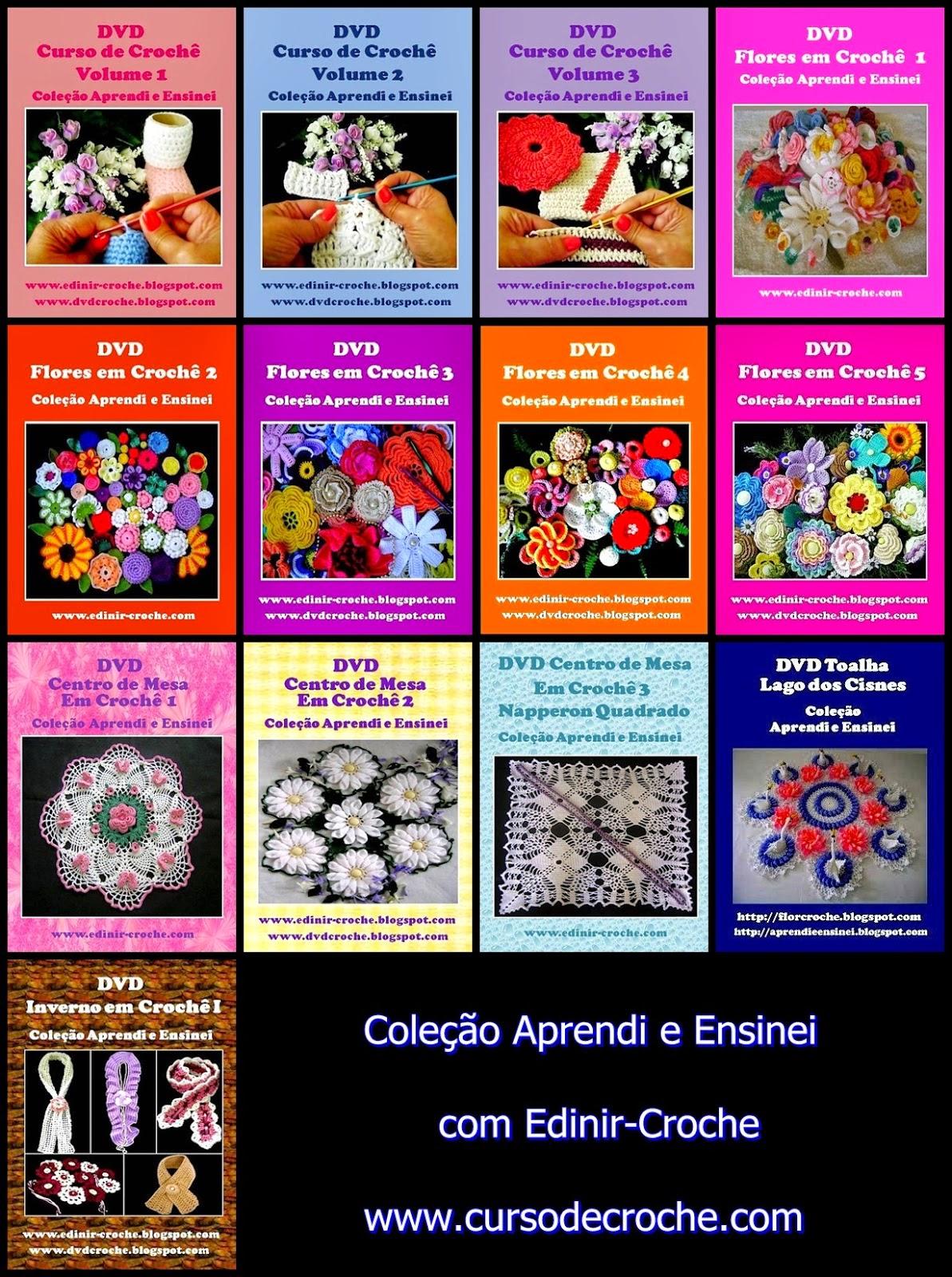 aprender croche dvd video-aulas coleção frete gratis edinir-croche na loja curso de croche