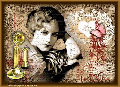 collage vintage con dama y teléfono antiguo