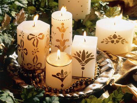 velas decoradas para o natal e ano novo