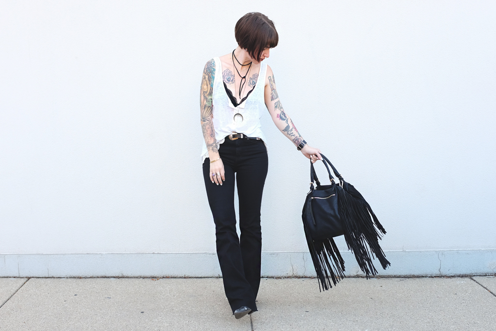 Leather Fringe Bag and Black Flared Denim - Mini Penny Blog
