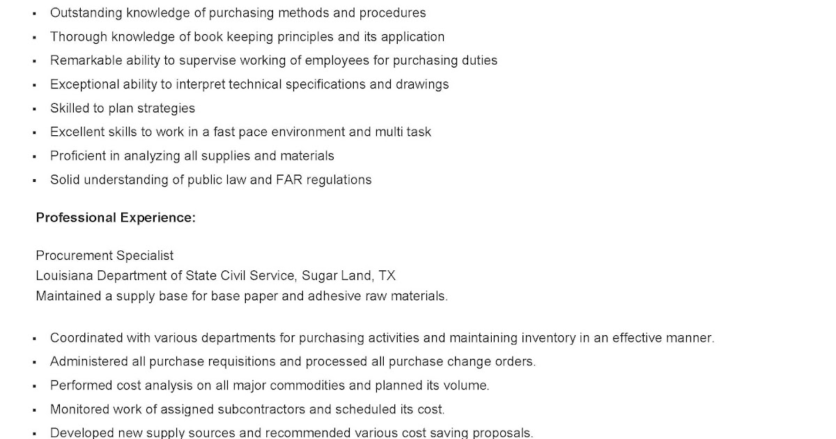 resume samples  sample procurement specialist resume