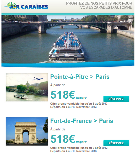 Promo billet air france martinique