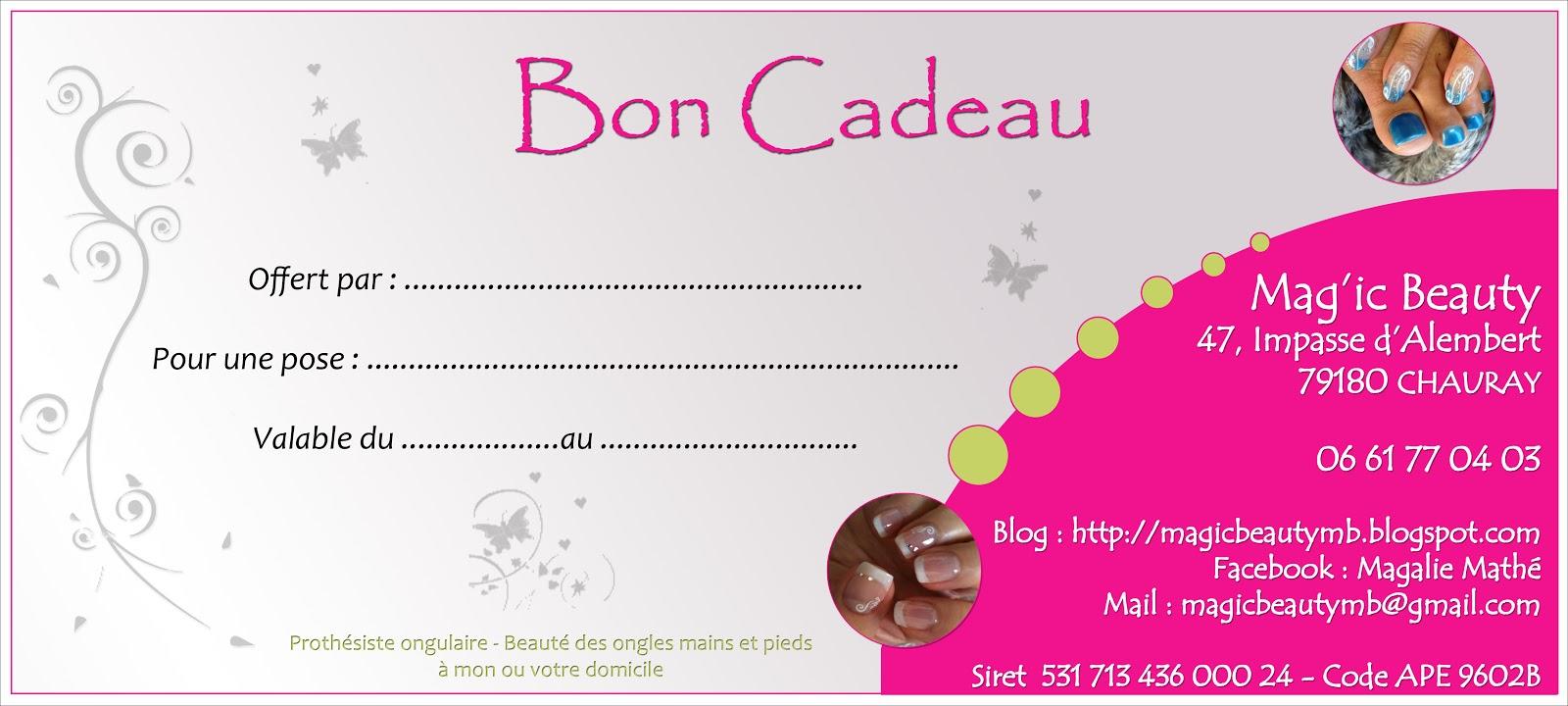 Assez Mag'ic Beauty Prothésiste ongulaire: BON CADEAU OQ13