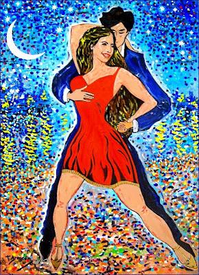 Salsa sota un mantell d'estrelles amb reflexos de Van Gogh