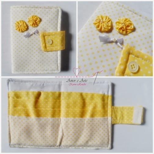Carteira em tecido - Carinho 2 - Poá amarelo e branco