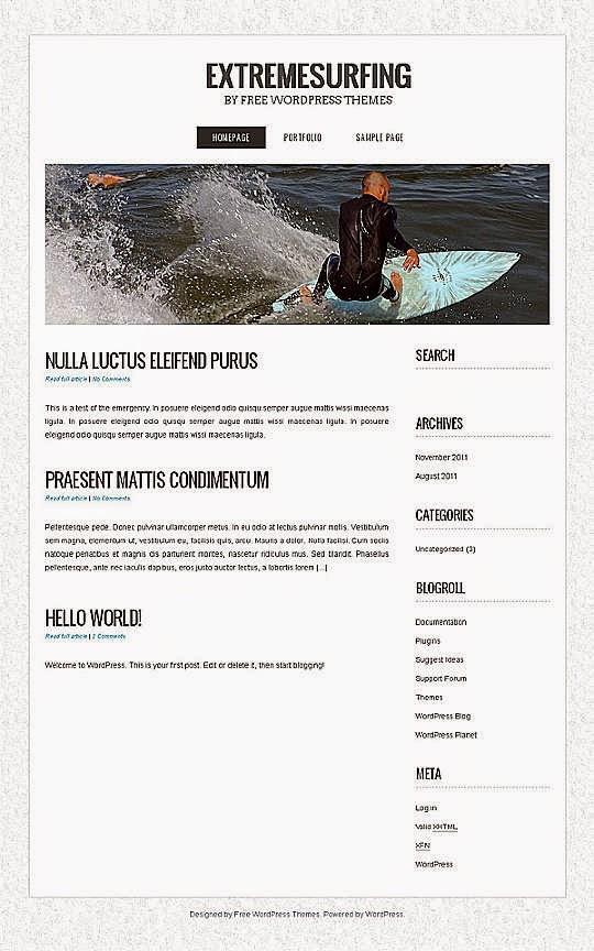 ExtremeSurfing - Free Wordpress Theme
