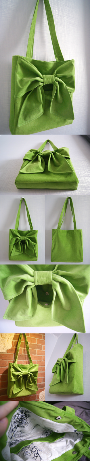 green velvet bag with a bow