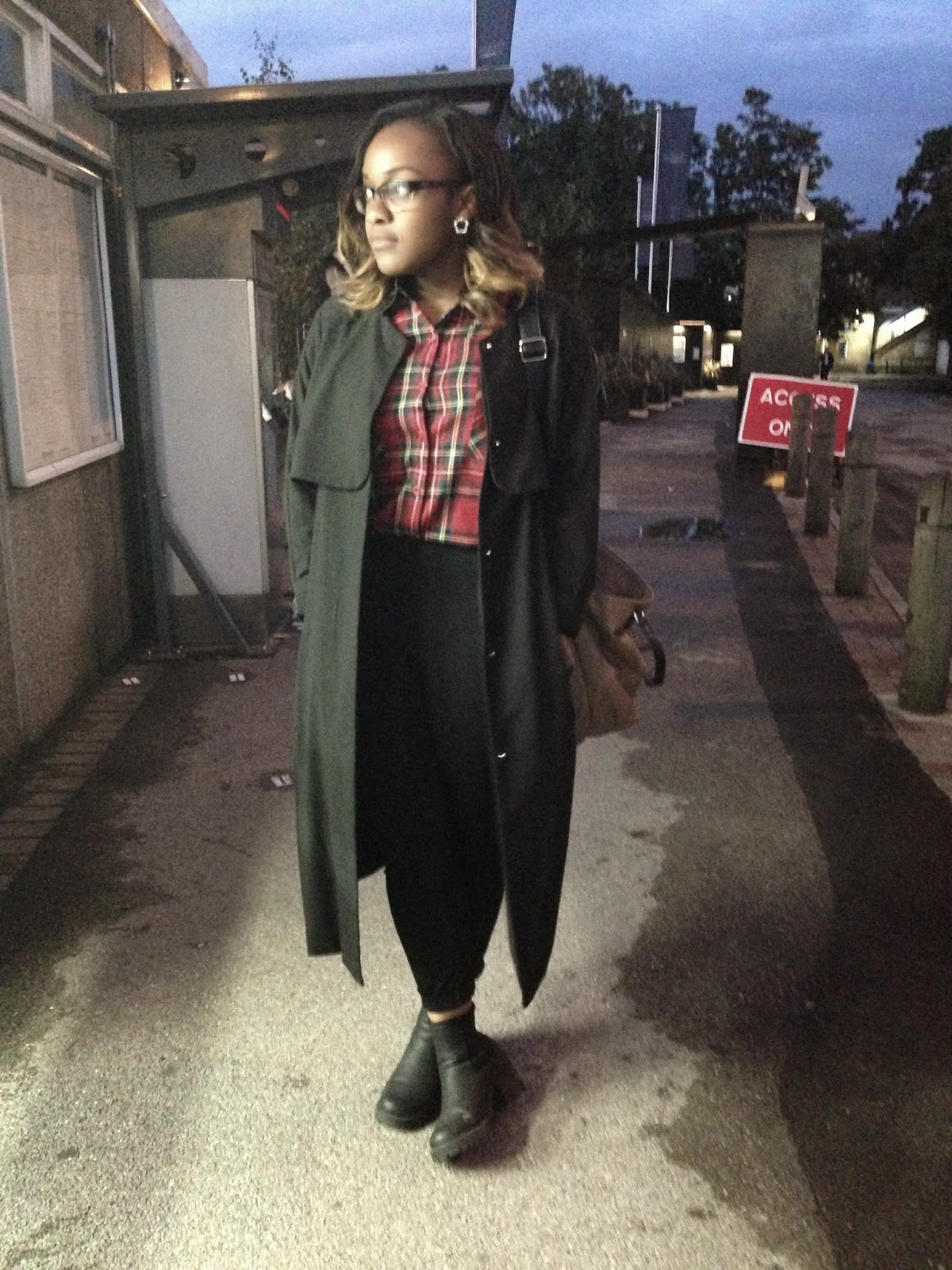 Black HM Duster Coat Red Tartan Shirt New Look Chunky Vagabond Boots