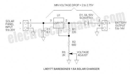 5 - 14 V Solar battery charger  Circuit schematic diagram