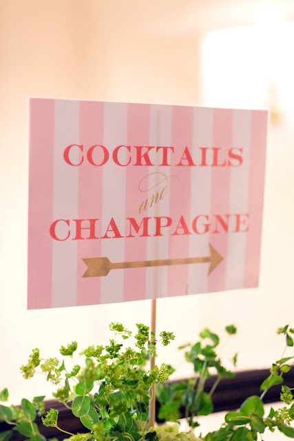 Cocktails and Champagne Wedding Sign