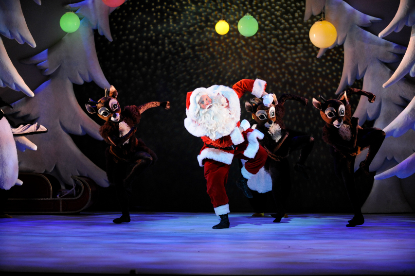 Santa and the reindeer dance at The Snowman Peacock Theatre