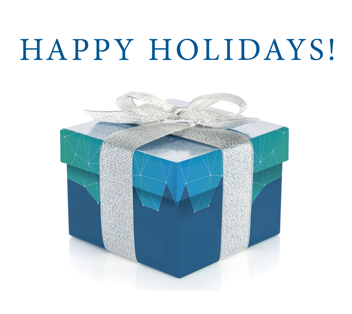image of a gift box with Happy Holidays salutation