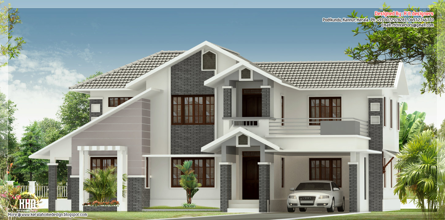 4 Bedroom Sloped Roof House Elevation Home Design Plans