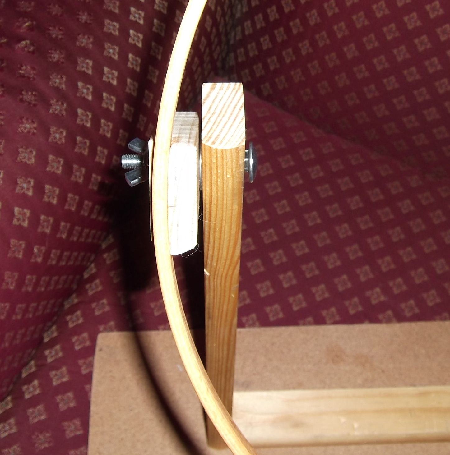 Elga s miniatures embroidery hoop turned into lap stand