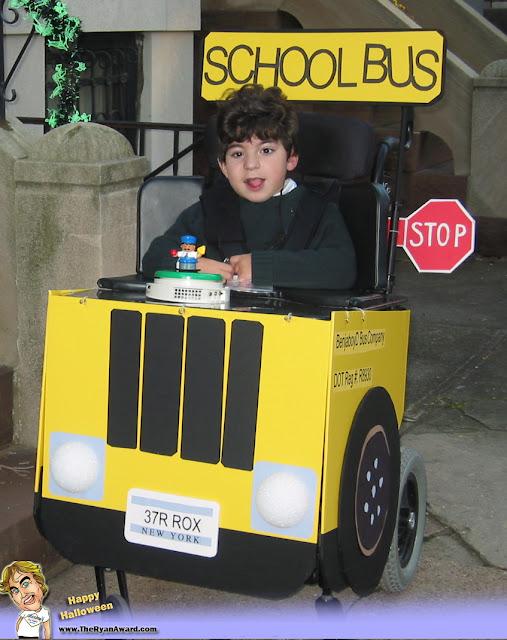 Win! Wheelchair Halloween Schoolbus Costume