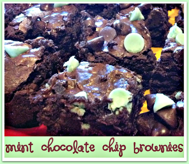 mint chocolate chip brownies by crazyloucreations.blogspot.com