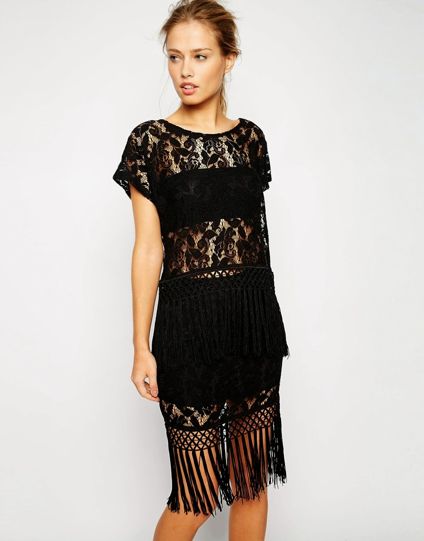 supertrash black fringe dress, black fringed midi dress,