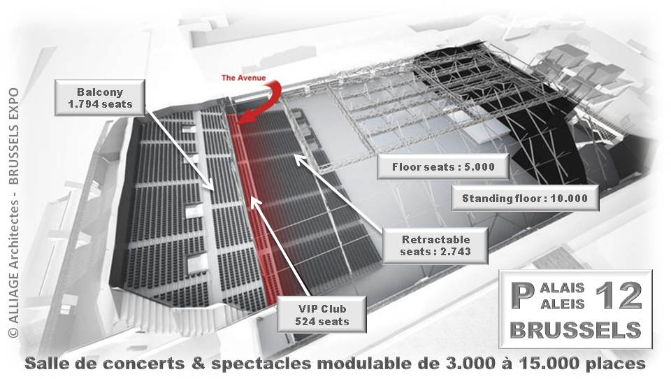PALAIS 12 - BRUSSELS - Salle de concerts, spectacles et événementiel - Modulable de 3.000 à 15.000 places sous différentes configurations - Bruxelles-Bruxellons