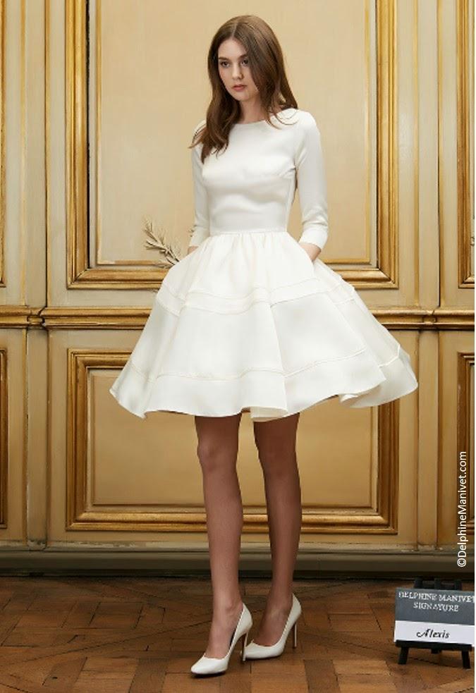 Robe de Mariée courte Delphine Manivet jupon manche longue modèle Alexis atemporel